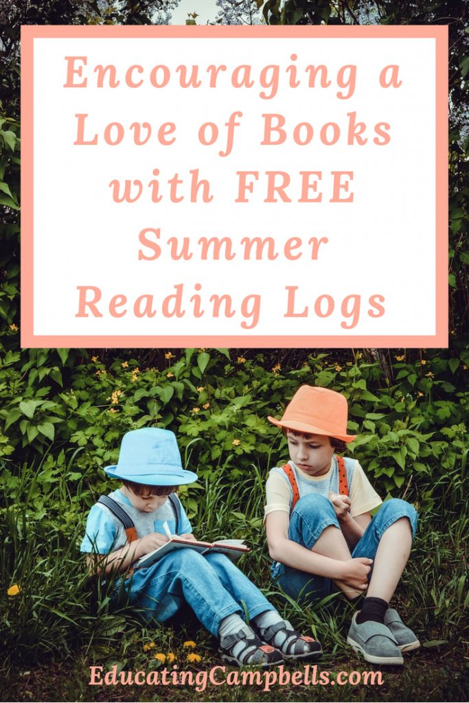 Encouraging a Love of Books, Free Summer Reading Logs, Pinterest Image