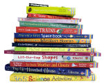 Usborne Books & More bookstack, homeschool supplies