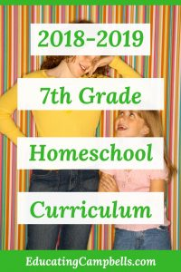 Pinterest Image -- 2018-2019 7th Grade Homeschool Curriculum, older girl and younger girl
