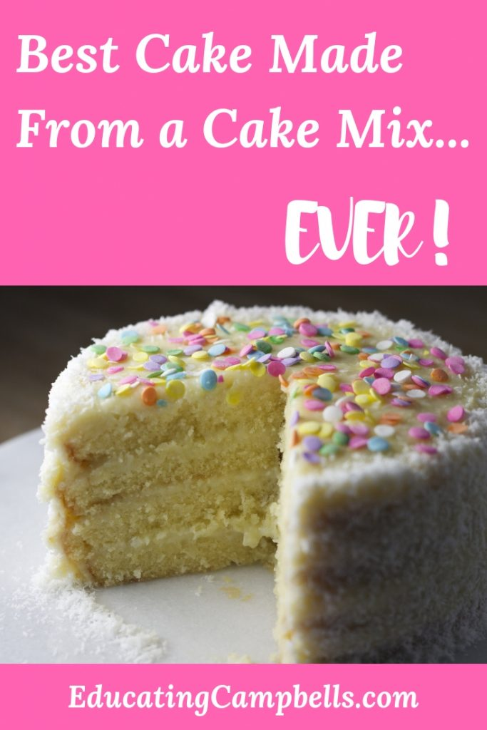 Pinterest Image -- Best Cake Made from a Cake Mix...Ever! layered cake