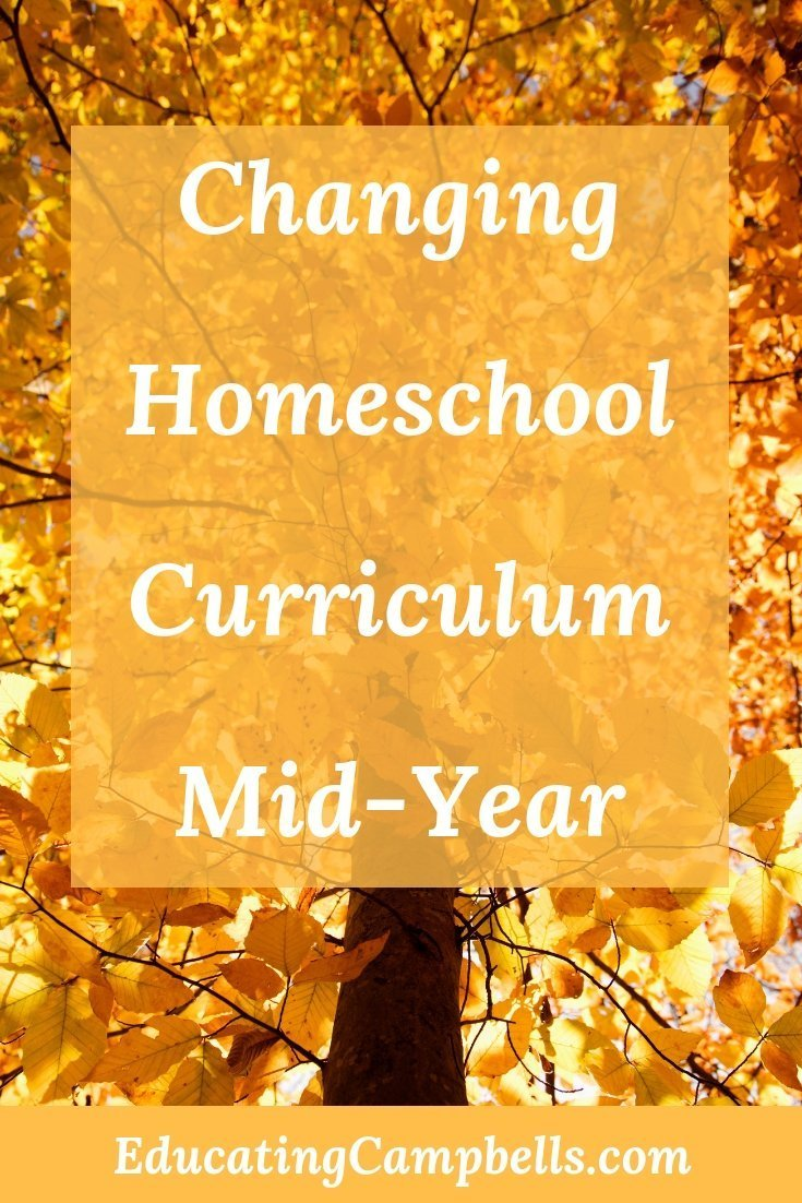 Pinterest Image -- Changing Homeschool Curriculum Mid-Year, tree changing leaves for fall picture