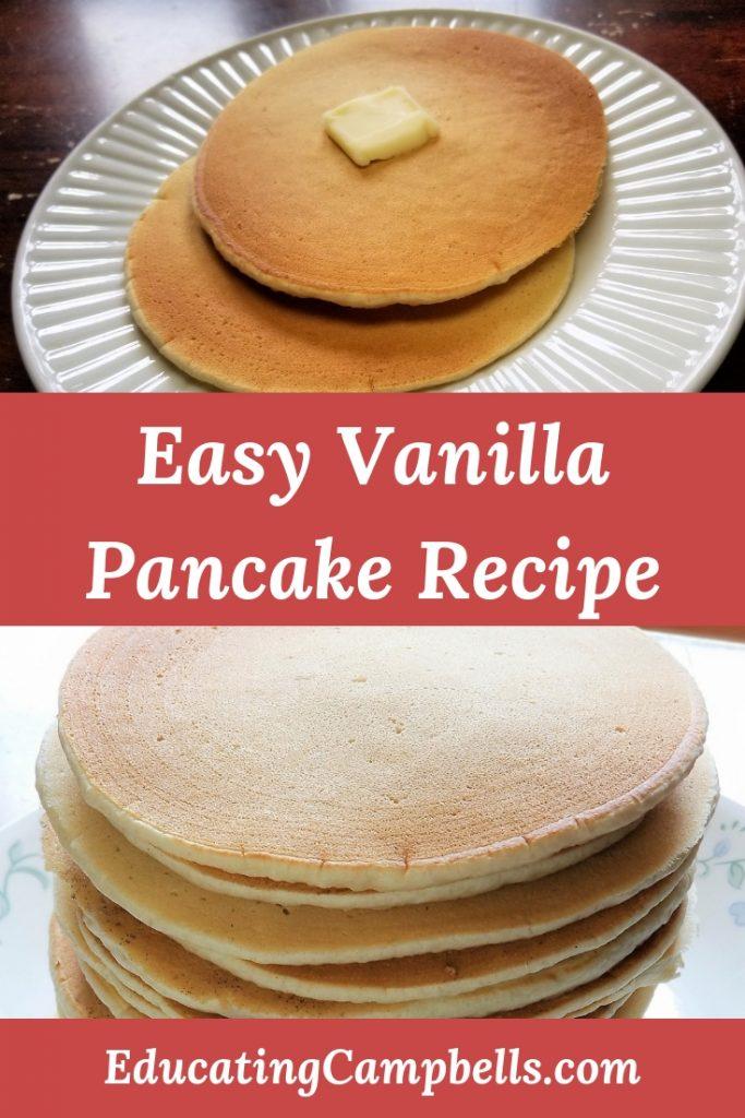 Pinterest Image -- Easy Vanilla Pancake Recipe, stacks of vanilla pancakes
