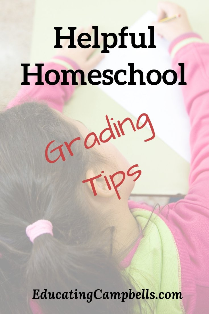 Pinterest Image -- Helpful Homeschool Grading Tips, child doing schoolwork