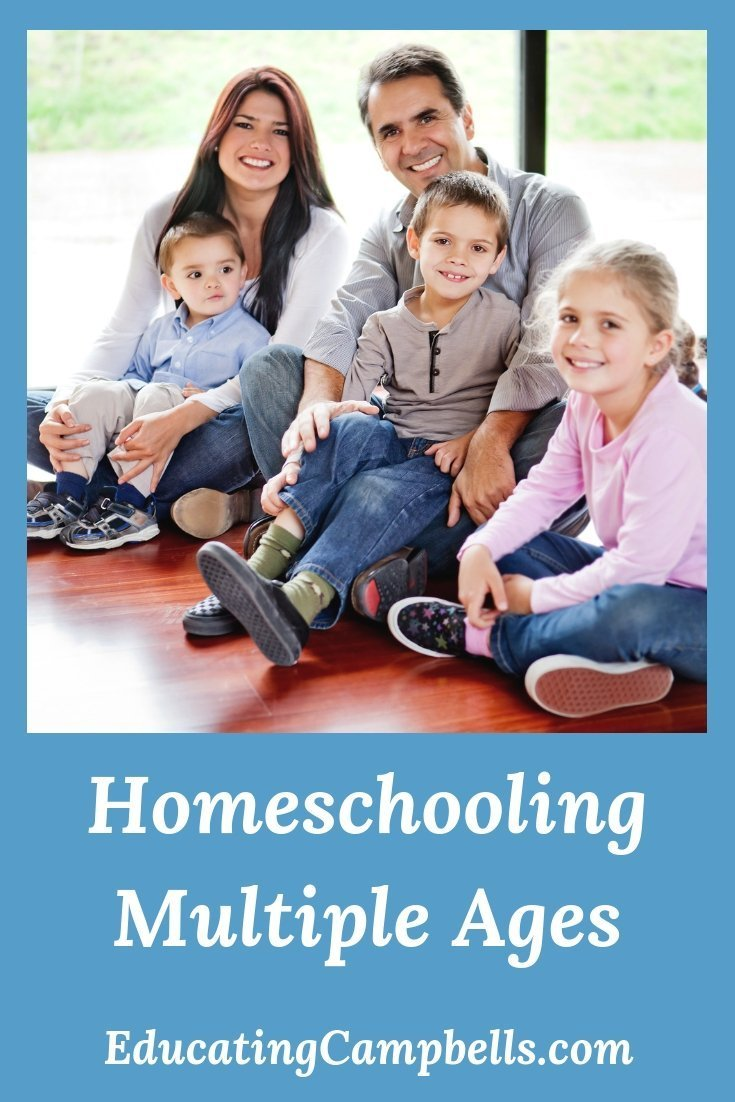 Homeschooling Multiple Ages, Pinterest Image, seated family with multiple children