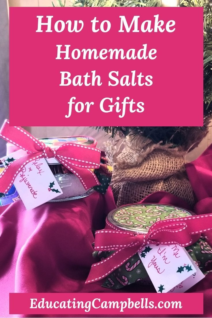 Pinterest Image -- How to Make Homemade Bath Salts for Gifts, bath salts under a Christmas tree
