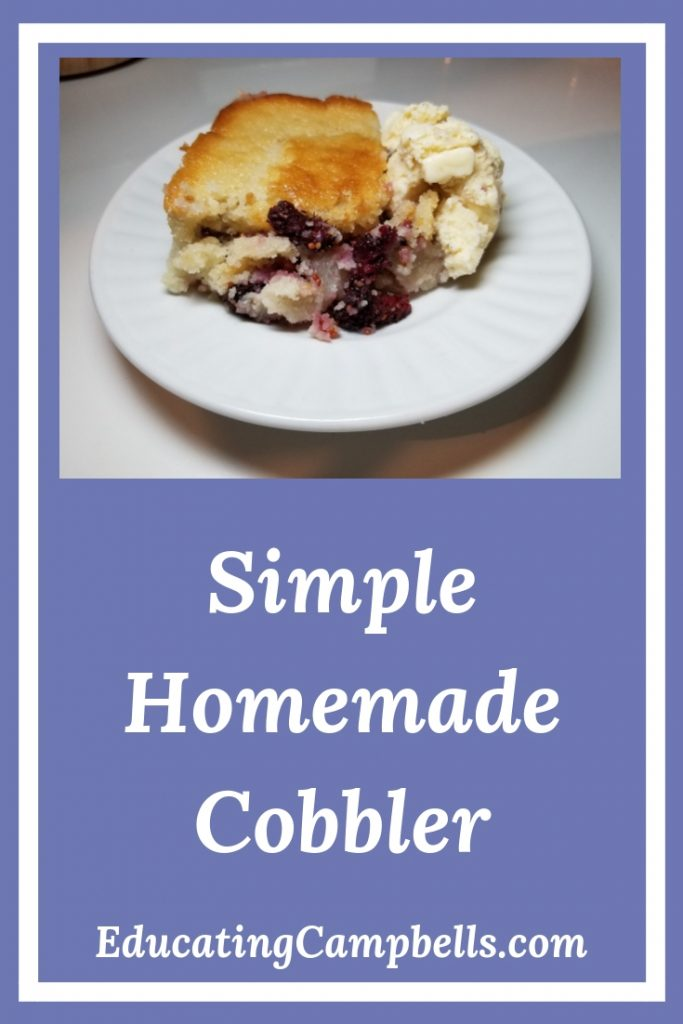 Pinterest Image -- Simple Homemade Cobbler, mulberry cobbler with ice cream