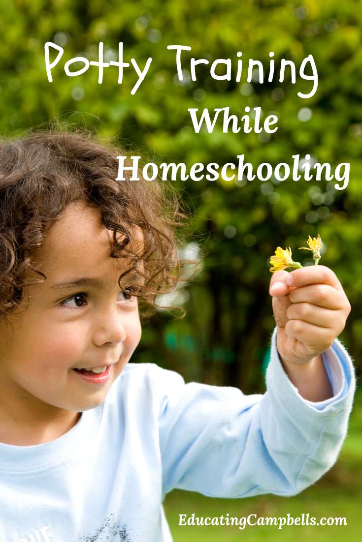 Potty Training Toddlers While Homeschooling -- Pinterest Image, small child with flower