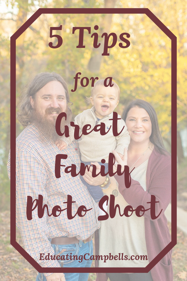 Pinterest Image for 5 tips for a great family photo shoot - mom, dad, and laughing baby