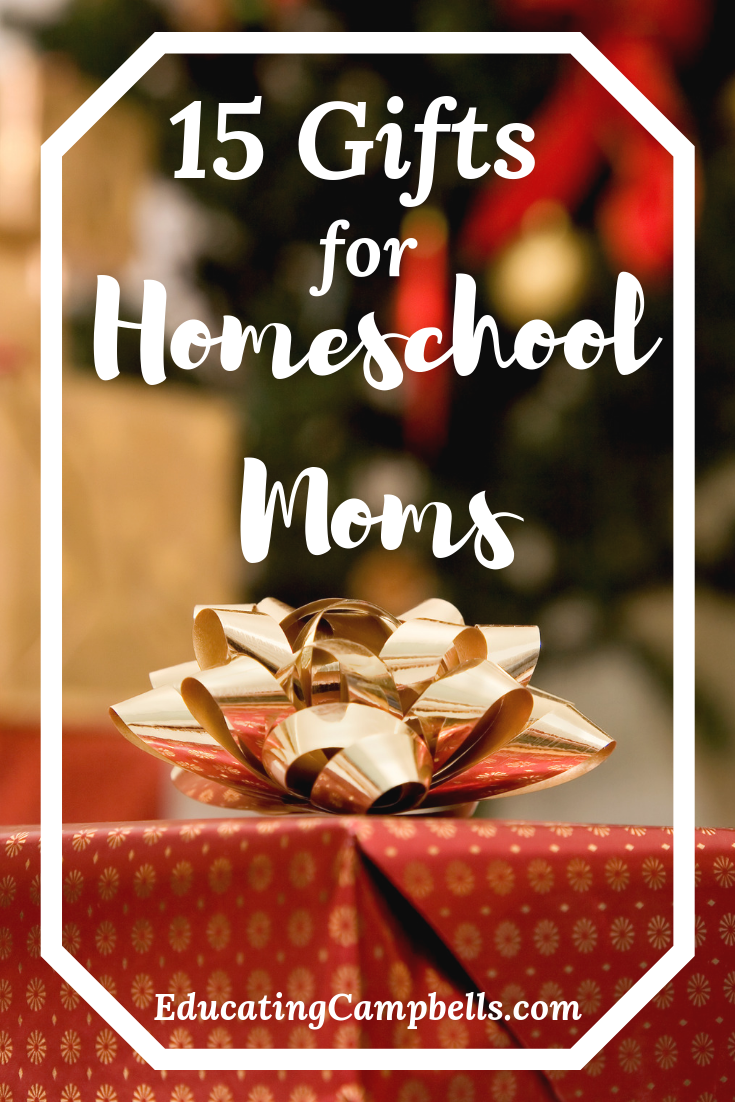 Pinterest Image -- Homeschool Moms Gift Guide, pretty wrapped gift with bow