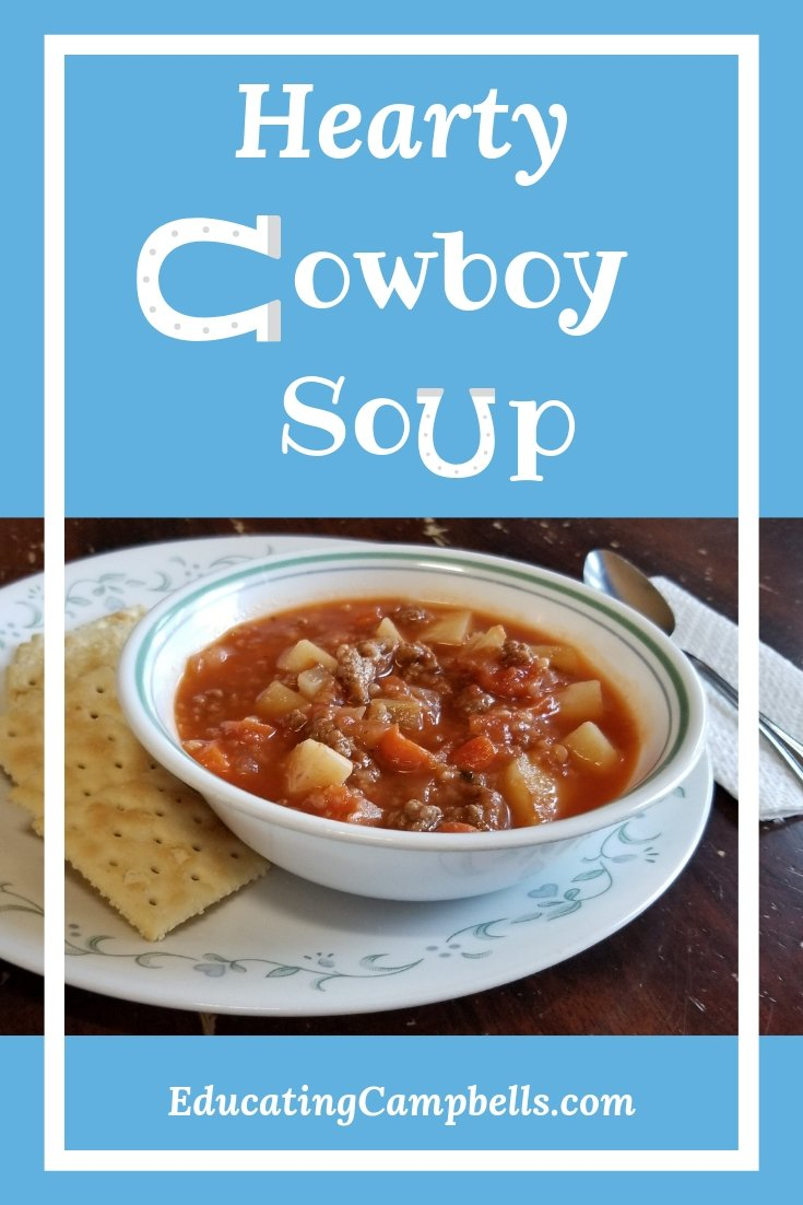 bowl of hearty cowboy soup, pinterest image