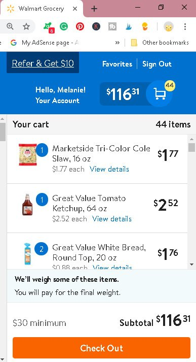 Walmart checkout screen, total for meals for 7, less than $120