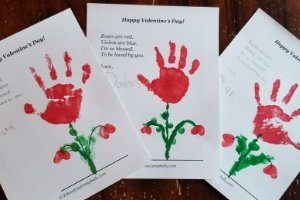 Valentine's Day handprint flower craft keepsake