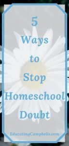 Pinterest Image -- 5 Ways to Stop Homeschool Doubt, daisy in background behind text