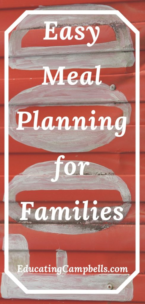 Pinterest Image -- Easy Meal Planning for Families, food sign in background