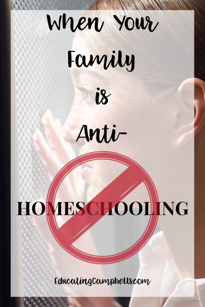 When Your Family is Anti-Homeschooling Pinterest Image, mom looking through a screen with text overlay