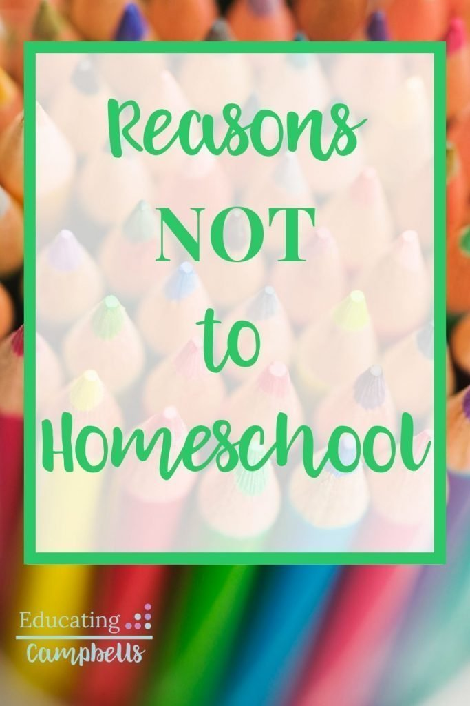 Reasons Not to Homeschool Pinterest Image, colored pencils with text overlay