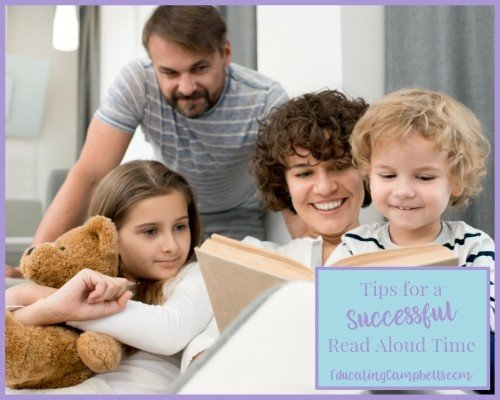 successful read aloud tips, kids with parents reading a book