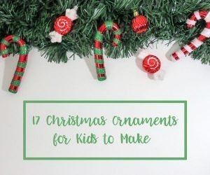 Christmas Ornaments for Kids to Make, featured image, garland with candy canes and hard candy with text overlay