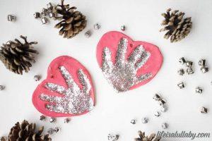 salt dough handprint ornament with glitter and paint