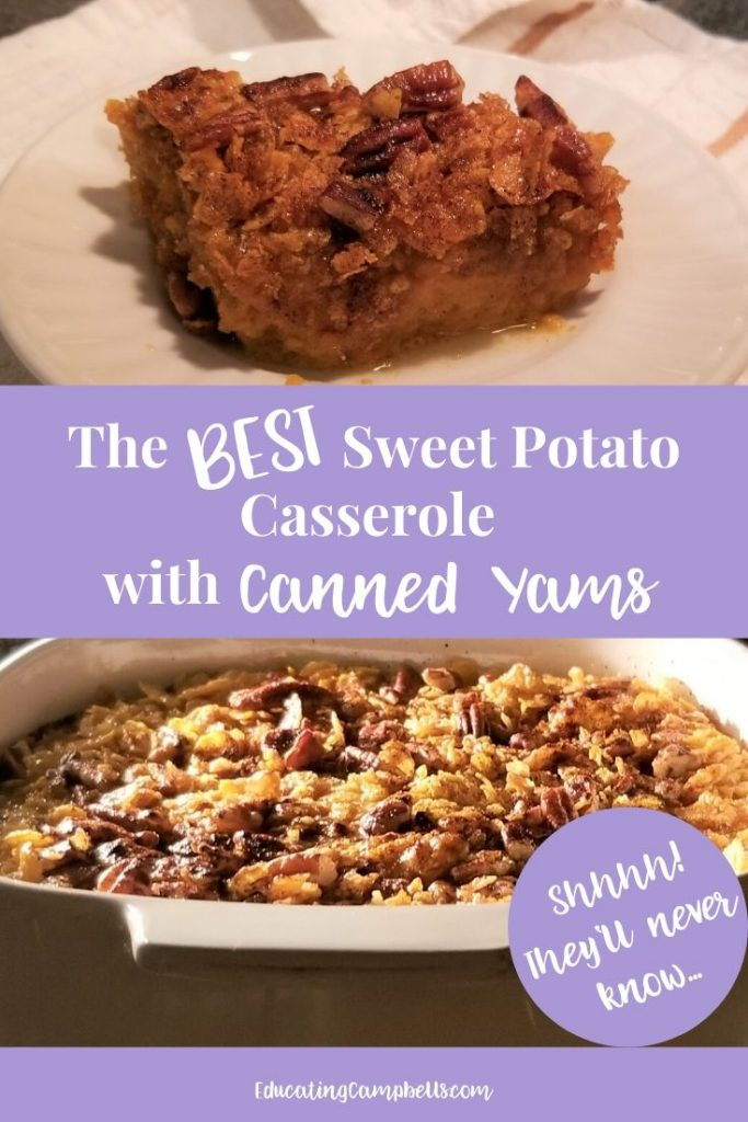 The Best Sweet Potato Casserole, pin 1 with text overlay