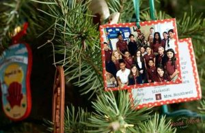 classroom christmas ornament with pic of class