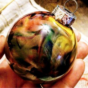 galaxy melted crayon ornament