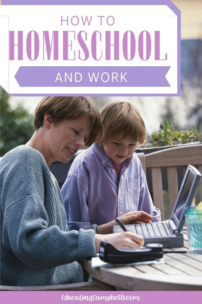 pinterest pin - how to homeschool and work, mother with child at the computer