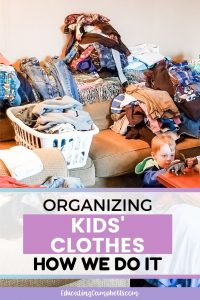 organizing kids' clothes, image of clothes piles on couch