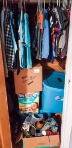 kids' clothes organization in closet