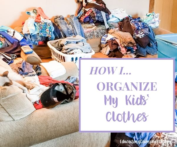 kids' clothes organization, clothes piles on couch