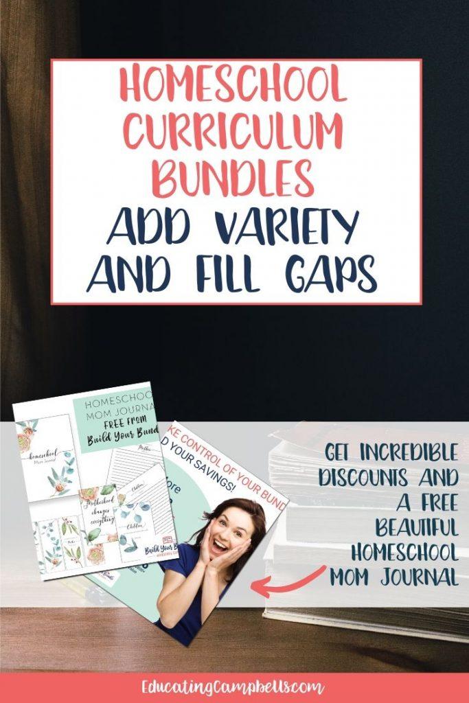 Homeschool Curriculum bundles pinterest pin with text overlay
