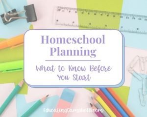 homeschool planning, items used for planning, featured image