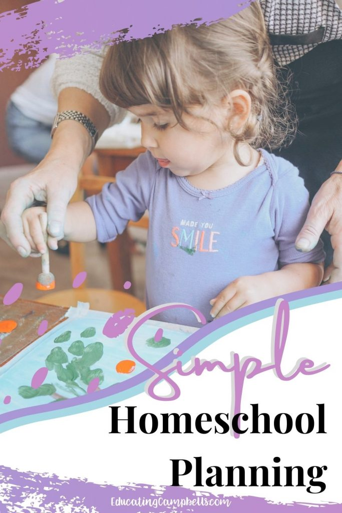 simple homeschool planning pinterest image - little girl painting with text overlay