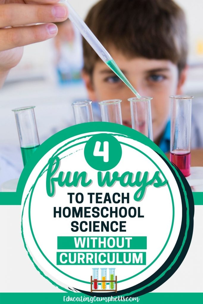 pinterest image for homeschool science without curriculum, boy using test tubes
