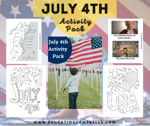 4th of July activity pack product image with text overlay