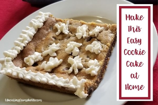 featured image for easy cookie cake at home, cookie slice on saucer