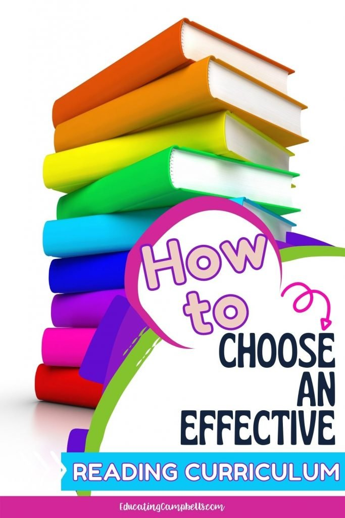 Pinterest Pin for How to Choose an Effective Reading Curriculum -- book stack with text overlay