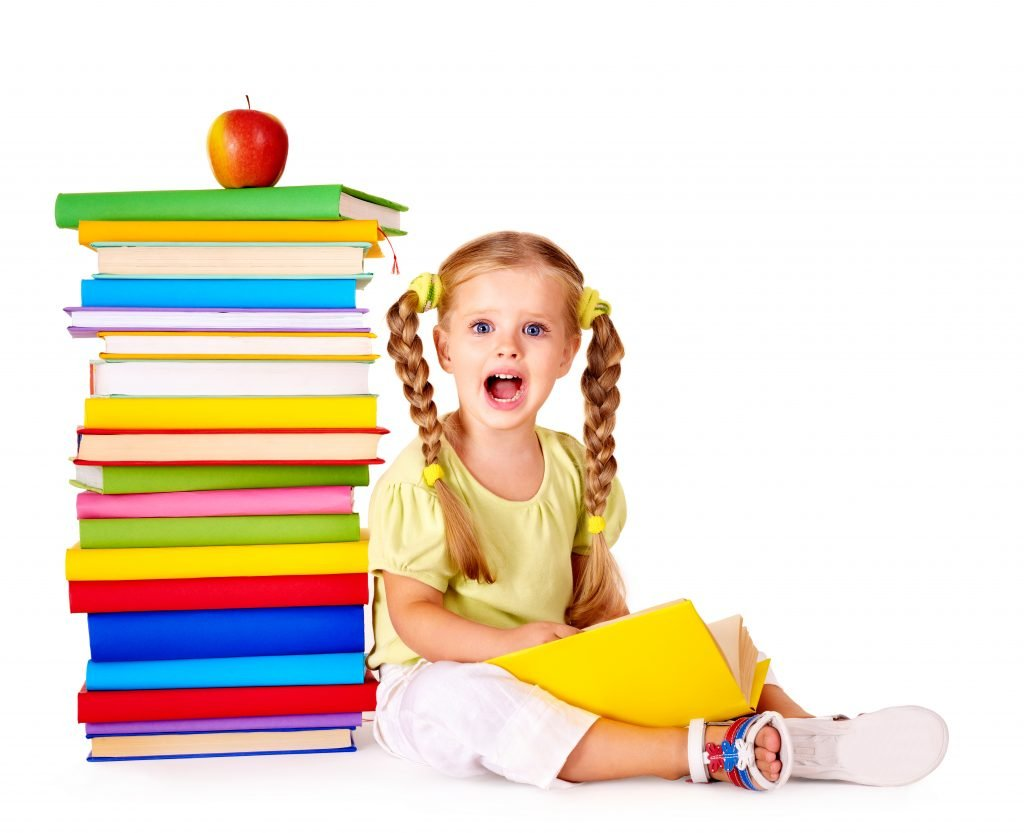 featured image for reading curriculum of little girl with book stack