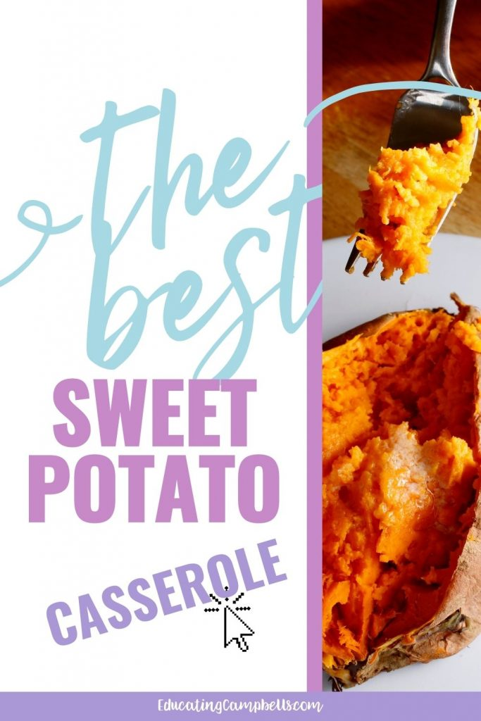 the best sweet potato casserole with canned yams pinterest pin, image of sweet potato being eaten with text overlay of title